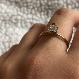 14K DIAMOND ENGAGEMENT, PROMISE HEART-SHAPED RING